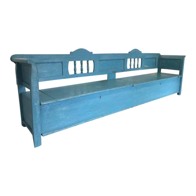 Very Long Painted 19th Century Bench With Storage For Sale