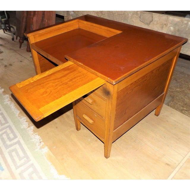 1960s Rustic Oak Writing Desk For Sale - Image 6 of 10