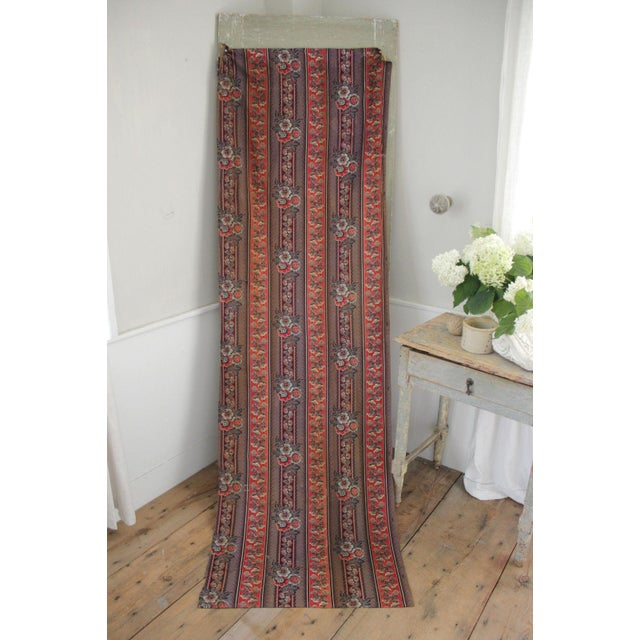 Antique French Fabric Rare Purple Red & Blue Madder Tones 1830 Roller Printed For Sale - Image 12 of 13