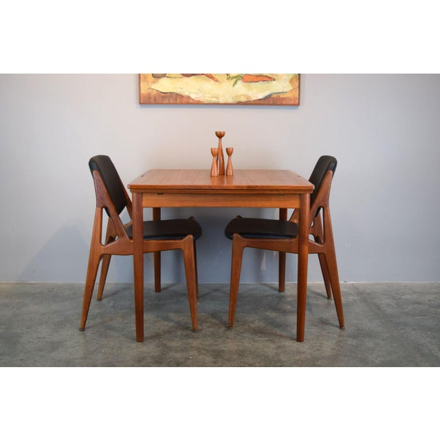 This Danish teak sweet table is SO lovely in person, and perfect for a small apartment or condo. Two leaves pull out to...