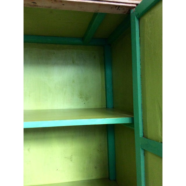 Retro Chinese Upholstered Armoire - Image 9 of 10