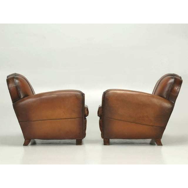 Brown French Art Deco Original Cloud Back Style Club Chairs in Incredible Condition For Sale - Image 8 of 10