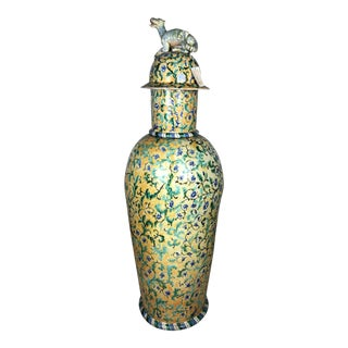 Antique Italian Majolica Urn With Mythical Dragon Figurine For Sale