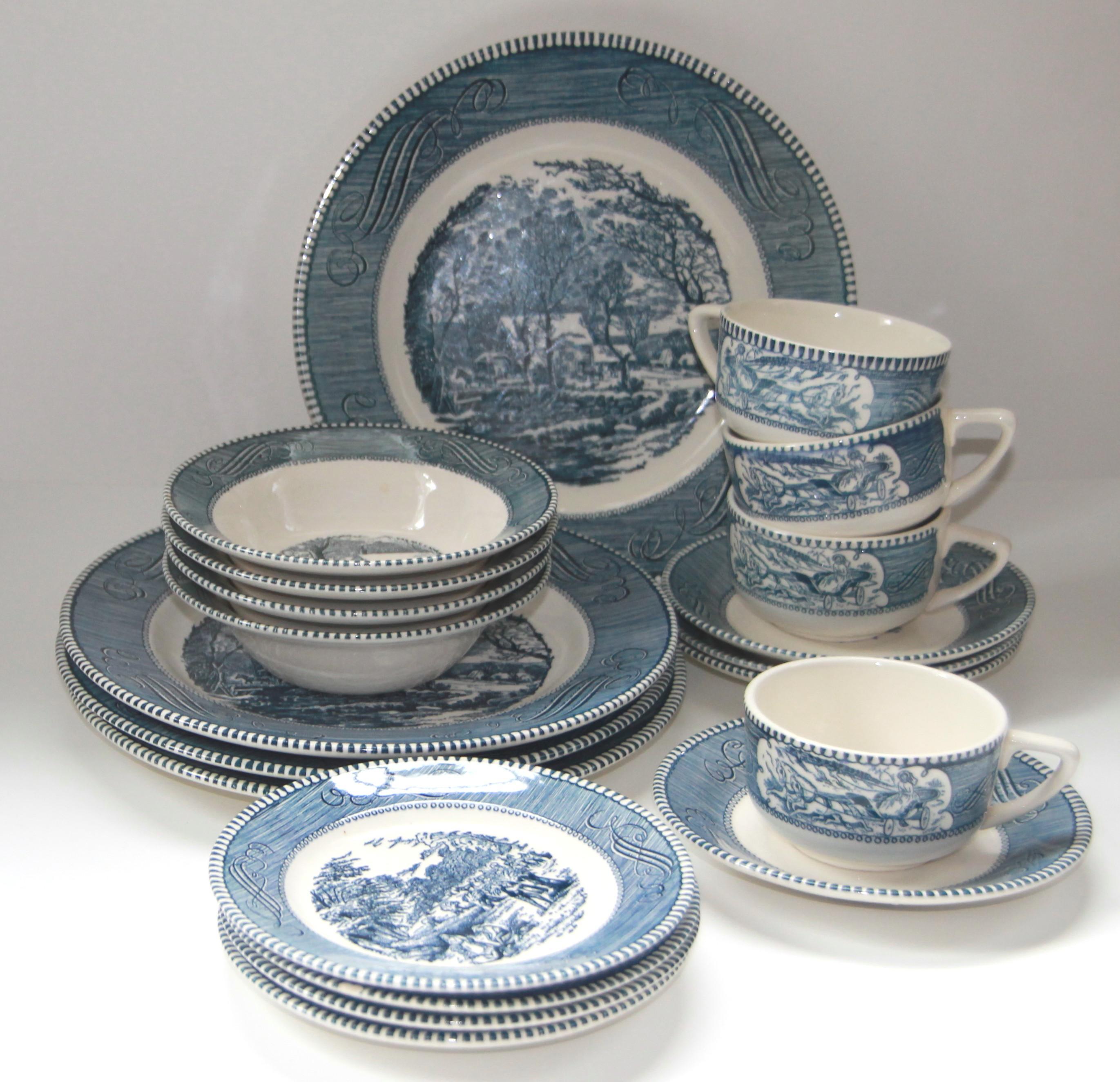 Currier u0026 Ives by Royal Blue Dinnerware - Image 2 ... & Currier u0026 Ives by Royal Blue Dinnerware | Chairish