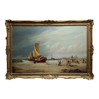 "19th Century ""Fishing Boats"" Large Oil Painting by C.H. Cook, 1878 For Sale"
