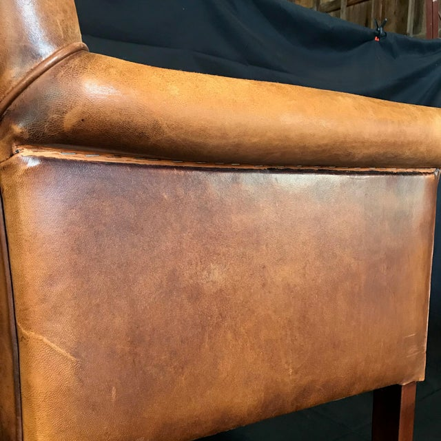 1940s French Vintage Leather Armchairs -Set of 6 For Sale - Image 5 of 13