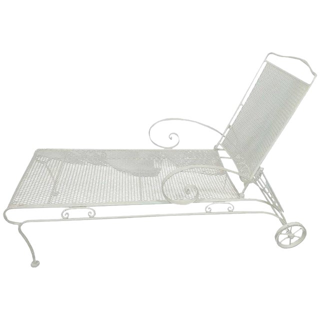 Russell Woodard Iron Mesh Steel Outdoor Chaise Lounge For Sale