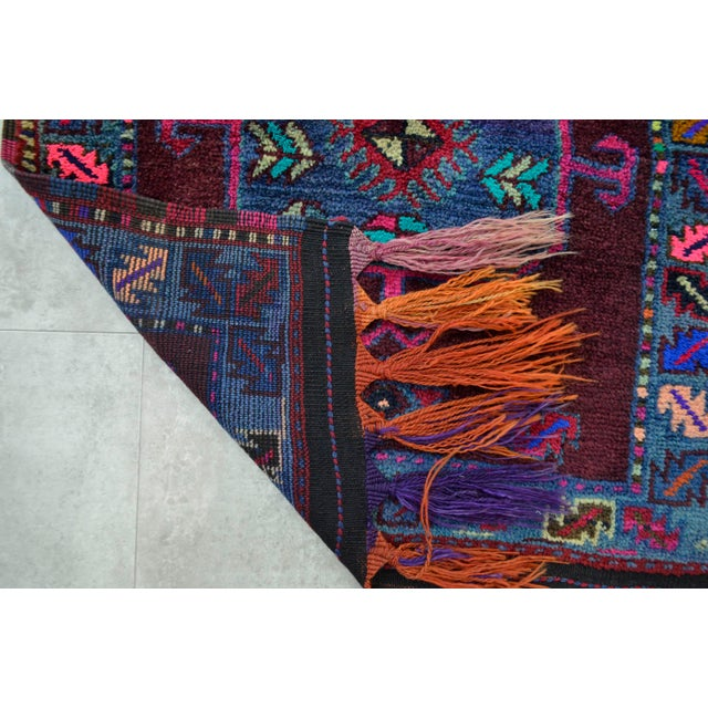 Kurdish Hand Knotted Burgundy Herki Tribal Rug - 3′2″ X 12′ - Image 10 of 10