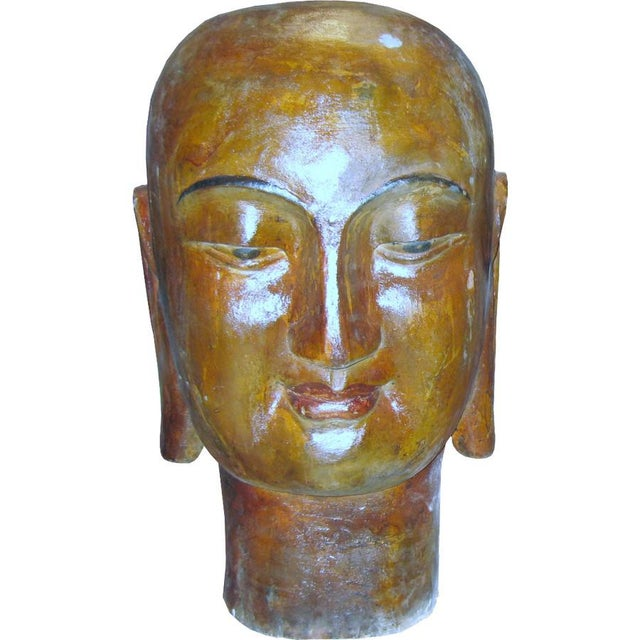 Asian Wooden Buddha Head For Sale - Image 3 of 3