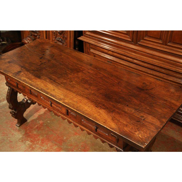 Early 18th Century Important 18th Century Spanish Carved Walnut Console Table With Secret Drawers For Sale - Image 5 of 12