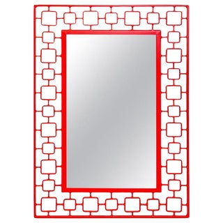 French Modern Red Enameled Iron Mirror For Sale