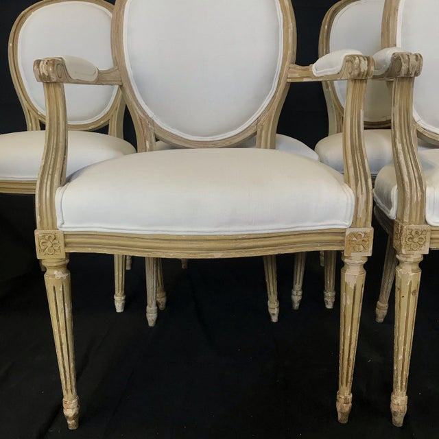 Wood Louis XVI Dining Chairs With Original Paint & Linen Uphostery -Set of 6 For Sale - Image 7 of 13