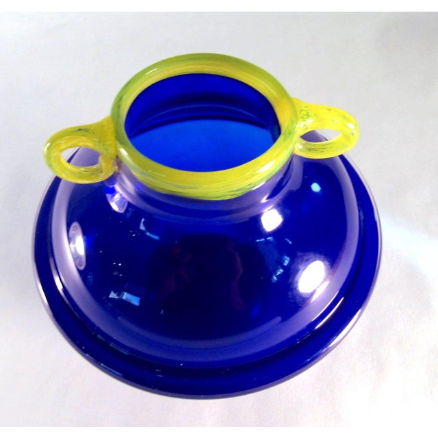 2000 - 2009 Vintage Signed Cobalt and Yellow Art Glass Amphora Vase For Sale - Image 5 of 11