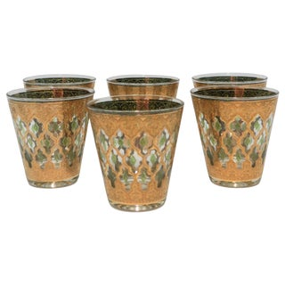 Set of 6 Vintage 22-Karat Gold Rocks Glasses With Moroccan Design For Sale