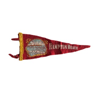 Vintage Hampton Beach Felt Flag Pennant For Sale