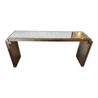 Large Silver Mirrored Console For Sale