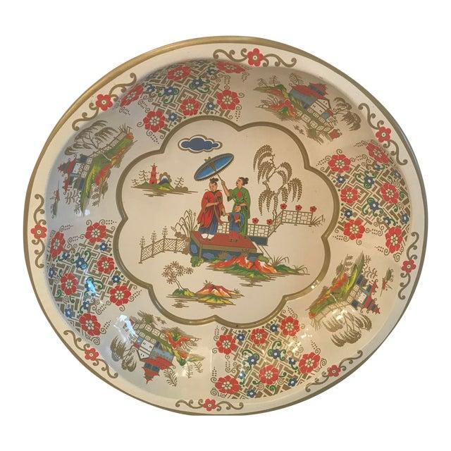 Vintage Oriental Theme English Tin Bowl For Sale