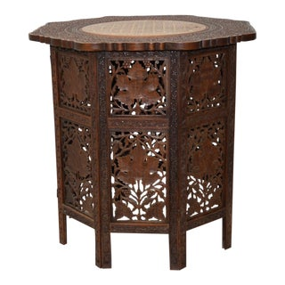 Victorian Anglo-Indian Carved Padauk Wood & Inlay Folding Side Table C.1900