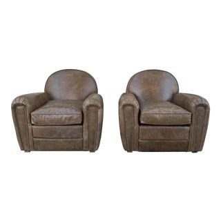 Distressed Pair of Club Chairs For Sale