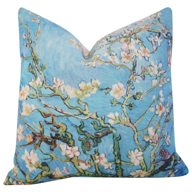 """Chic Van Gogh Inspired Cherry Blossom Linen Feather/Down Accent Pillow 17"""" - Image 1 of 6"""