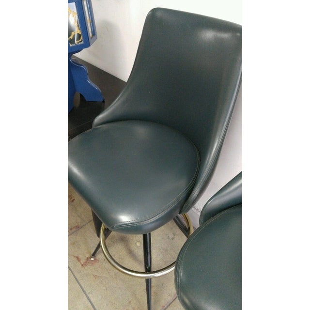 Mid-Century Modern Mid-Century Brass & Leatherette Swivel Bar Stools - a Pair For Sale - Image 3 of 10