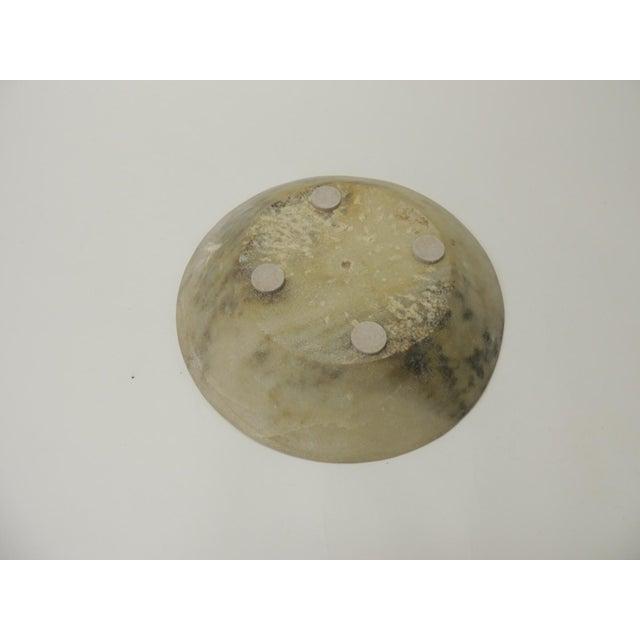 Vintage Asian Hand Carved Alabaster Round Decorative Serving Bowl For Sale - Image 4 of 5