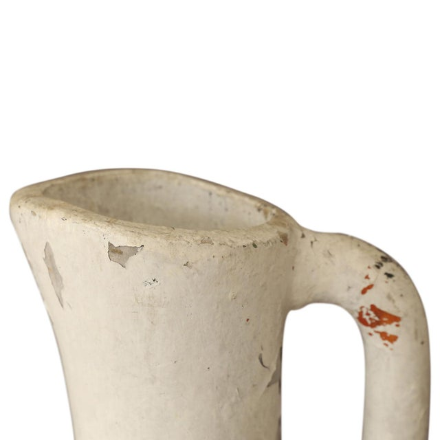 Large, very decorative vintage composite ewer (single handle long-necked vase or pitcher) with remnants of original paint.
