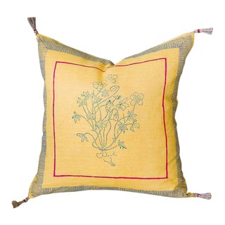 Aditi Handwoven & Block-printed Linen Pillow - 16x16 with Insert For Sale