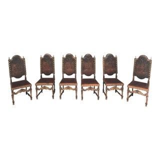 19th Century Spanish Chairs With Embossed Leather Set of 6 For Sale