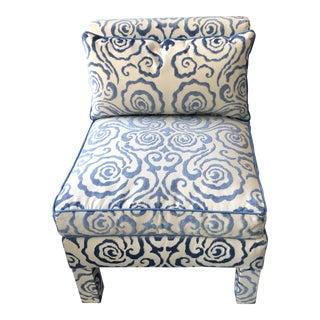 Scalamandre Cut Velvet Slipper Chair For Sale
