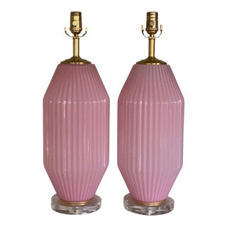 Pair of Vintage Pink Murano Art Deco Glass Table Lamps For Sale