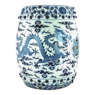 20th Century Asian Antique Blue White Porcelain Dragon Garden Stool For Sale