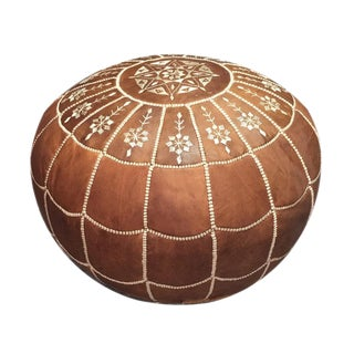 Full Arch Pouf by Mpw Plaza, Brown (Stuffed) Moroccan Leather Pouf Ottoman For Sale