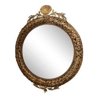 Round Metal Leaf Motif Gilt Beveled Mirror