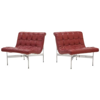 Pair of Laverne Red Leather Lounge Chairs For Sale