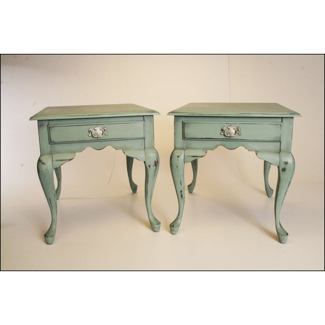 Vintage French Distressed Wood Side Tables - Pair - Image 2 of 11