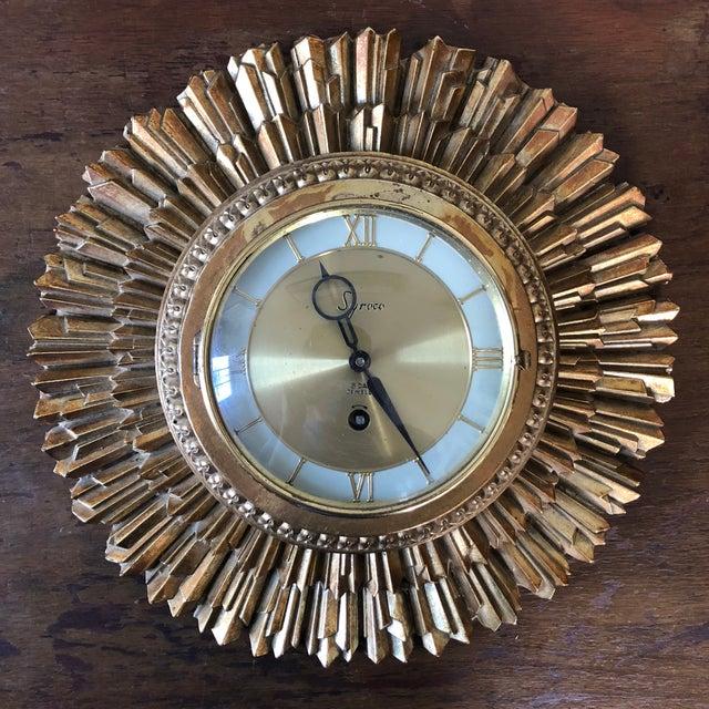 Mid Century Syroco Sunburst Wall Clock For Sale In Buffalo - Image 6 of 6