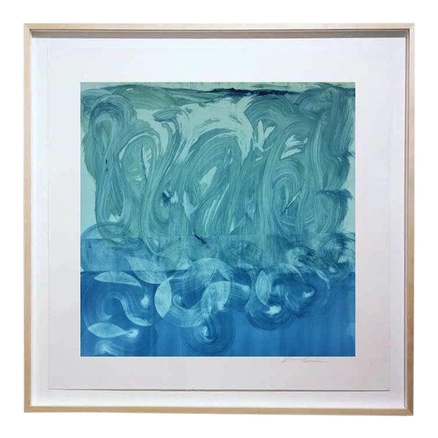 """Teal and Blue"" Original Monotype on Rives Bfk Paper Print by Karen J Revis For Sale"