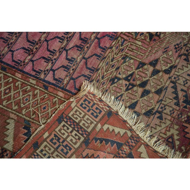 "Pink Antique Turkmen Square Rug - 4'5"" x 4'11"" For Sale - Image 8 of 10"