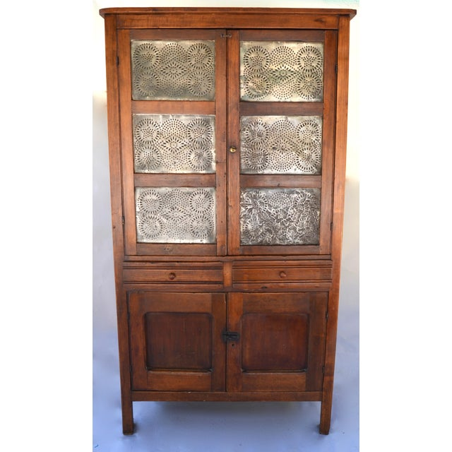 Mid 19th Century Antique Walnut/Pine 10 Punched Tin Panel Pie Safe Cabinet For Sale - Image 5 of 10