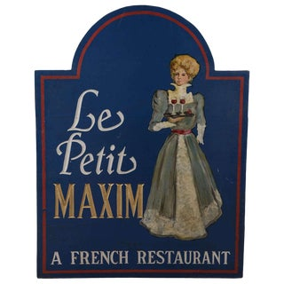 "19th Century Vintage ""Le Petit Maxim"" French Restaurant Sign For Sale"