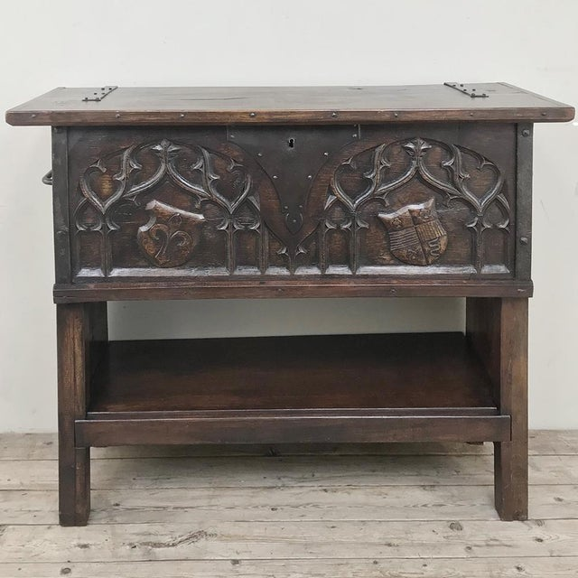 Antique French Gothic Low Buffet - Console - Sofa Table For Sale - Image 13 of 13