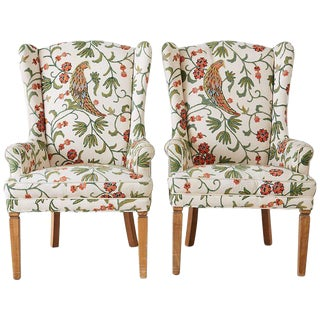 Pair of English Style Crewel Work Wing Chairs For Sale