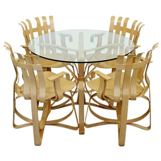 Frank Gehry Knoll Contemporary Modernist Face Off Dinette Table and Hat Trick Chairs - 5 Pieces For Sale