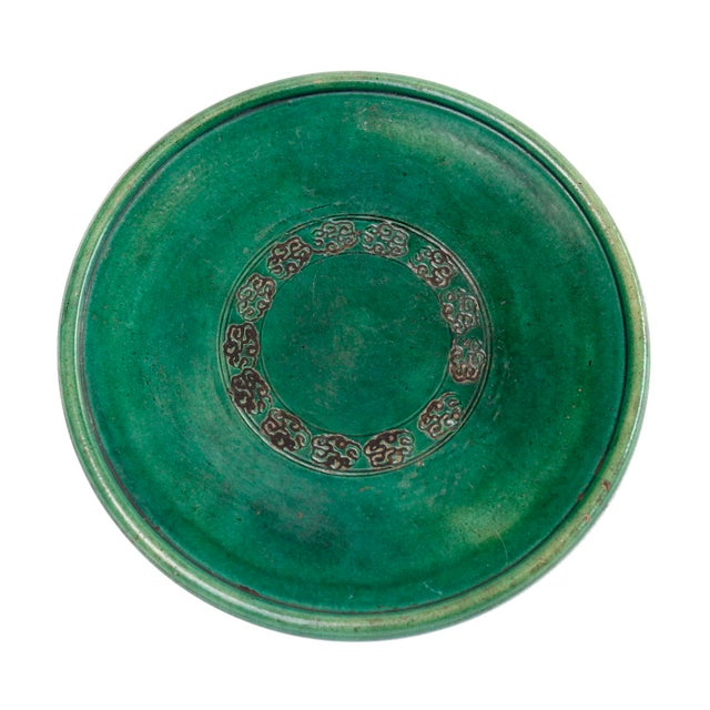 Antique Japanese Green Ceramic Oribe-Style Oil Plate For Sale - Image 4 of 4