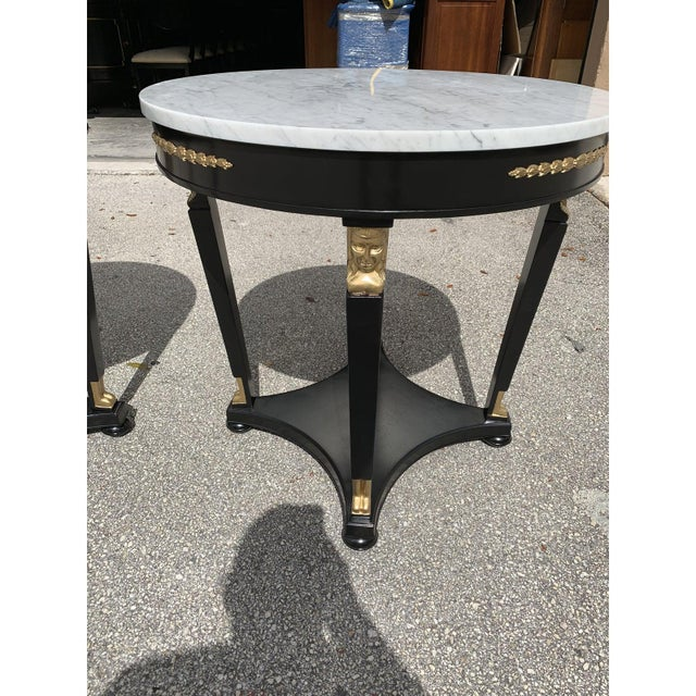 Metal 1910s Antique French Empire Marble Top Accent Tables or Gueridon Tables - a Pair For Sale - Image 7 of 13