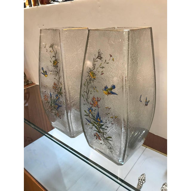 A fine pair of Mont Joye, French acid etched glass and enameled rectangular tapered vases. The interior is acid etched...