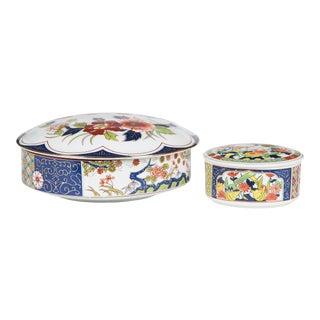 Vintage Japanese Imari Lidded Bowls, Two For Sale