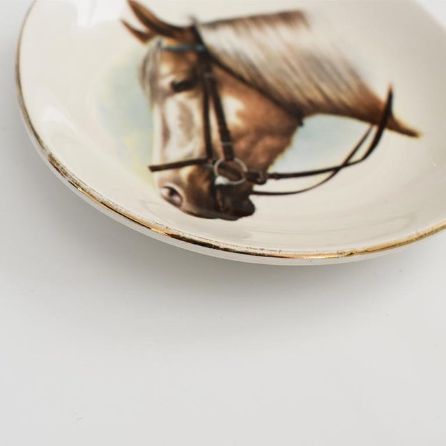 Mid 20th Century Equestrian Style Ceramic Horse Vide-Poche Decorative Dish or Catch All For Sale - Image 5 of 10