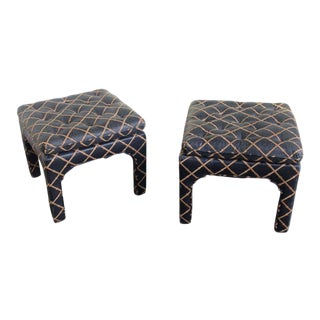 1970s Contemporary Square Tufted Benches - a Pair For Sale